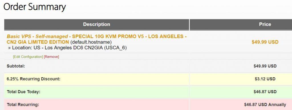 搬瓦工优惠码- 洛杉矶CN2 GIA 49.99美元年付方案有货了